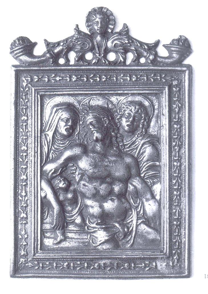 Pio V / Cristo muerto entre la Virgen y San Juan (R.M. SXVI-O15) Plaquetabargello