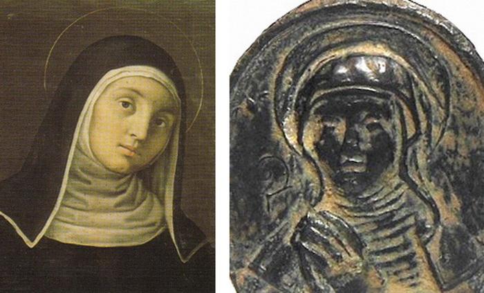 Bustos acolados Jesús y María / Santa Escolástica (R.M. SXVII-O253) 6gxx