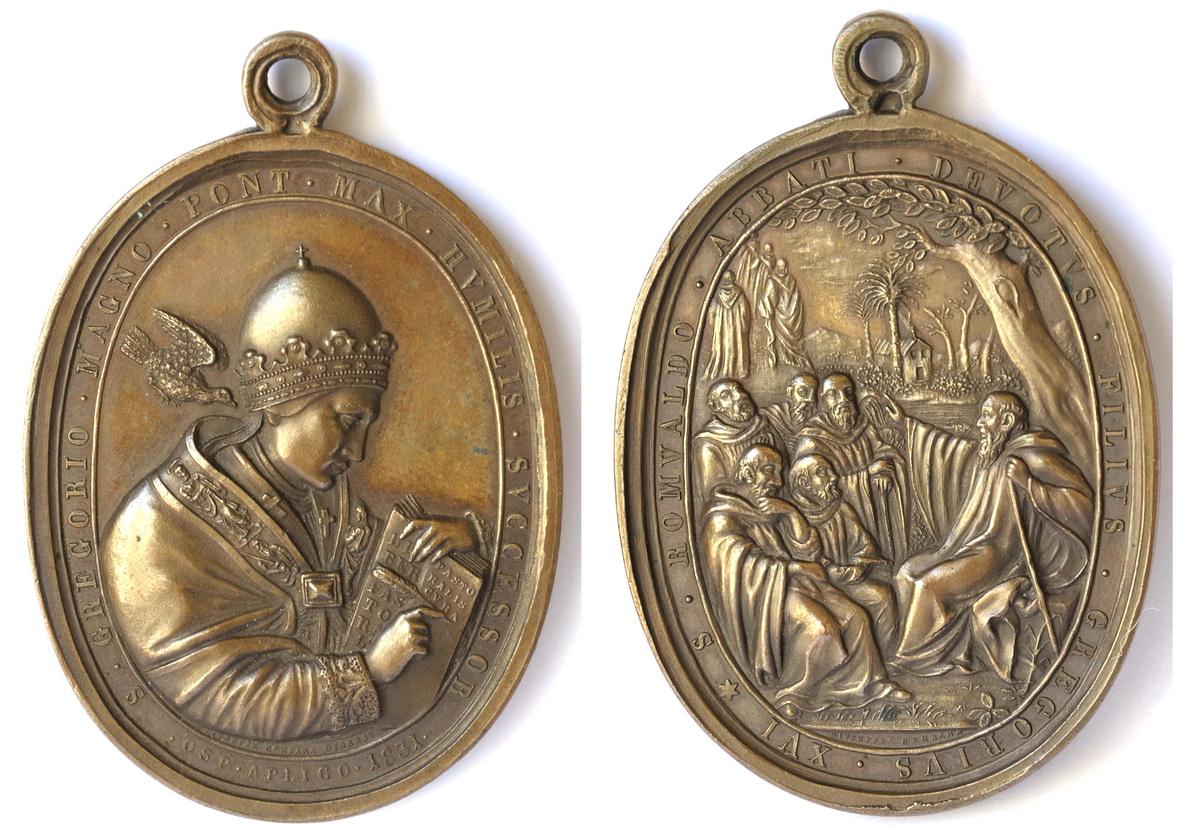 San gregorio Magno / San Romualdo Abad . S. XIX  (R.M. SXIX-O30) Sangregorio1200