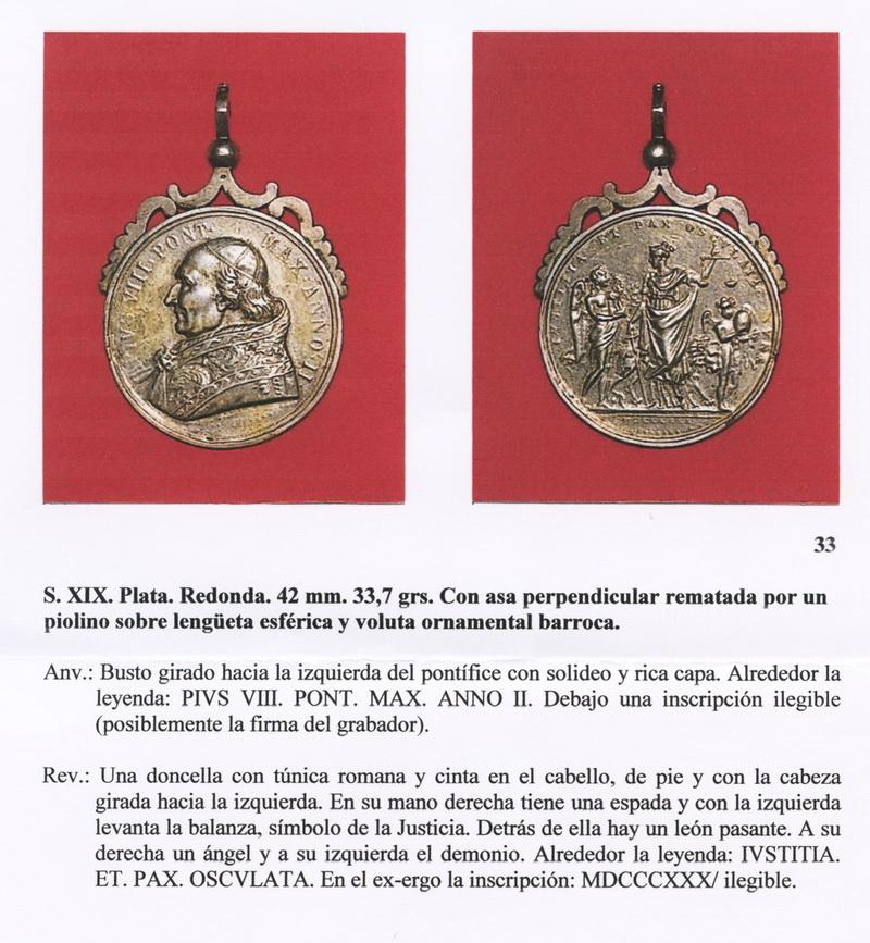 Medalla Pio VIII (FSV-33) medall  Medallanum33