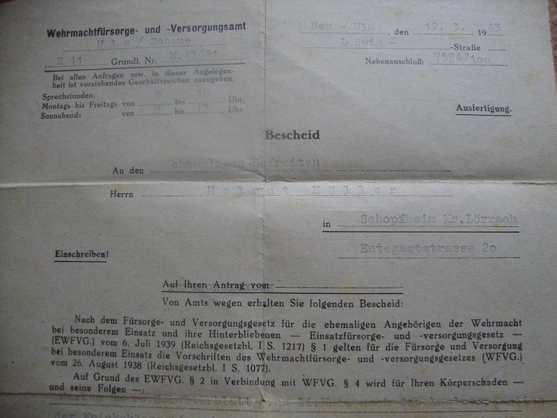 Traduction et identification d 'un Wehrpass et ses papiers B9ex