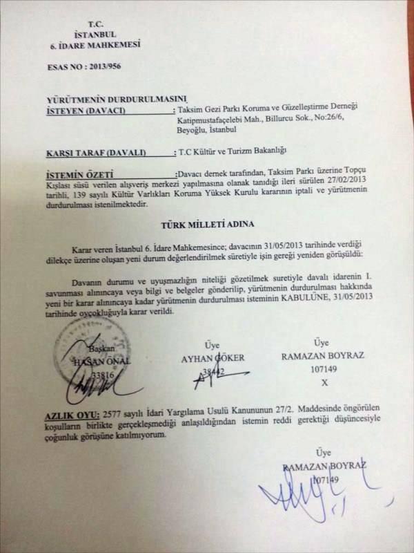 Taksim Gezi Parkı için yürütmeyi durdurma kararı çıktı. 40050710151436468425036
