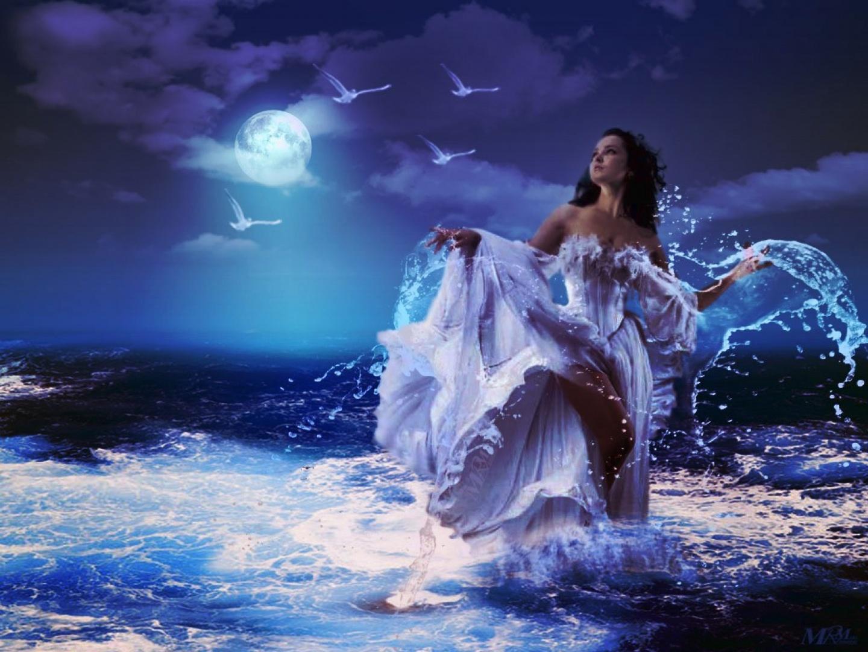 Fondo Fantasía-mujer en el mar Mujerenelmarconunvestid