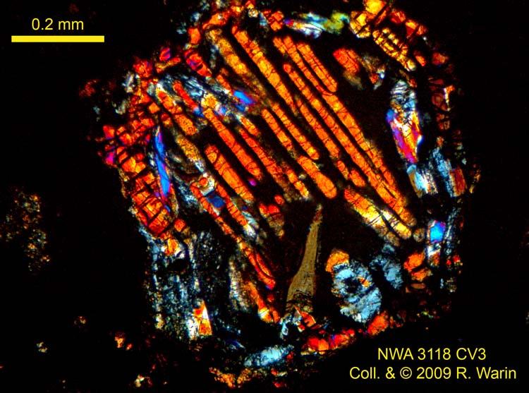 NWA 3118 CV3, une paire de vues typiques: CAI & chondre BO Nwa3118005215r