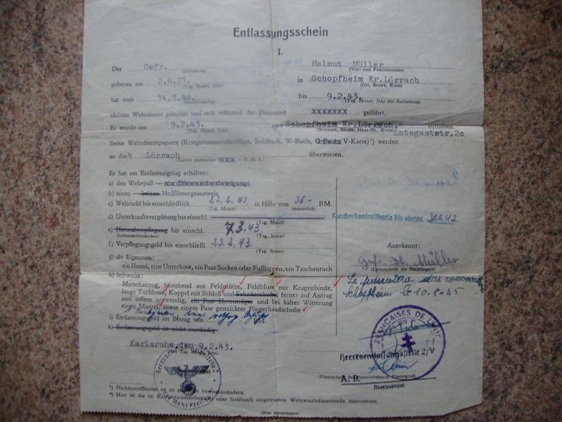 Traduction et identification d 'un Wehrpass et ses papiers 4x0f