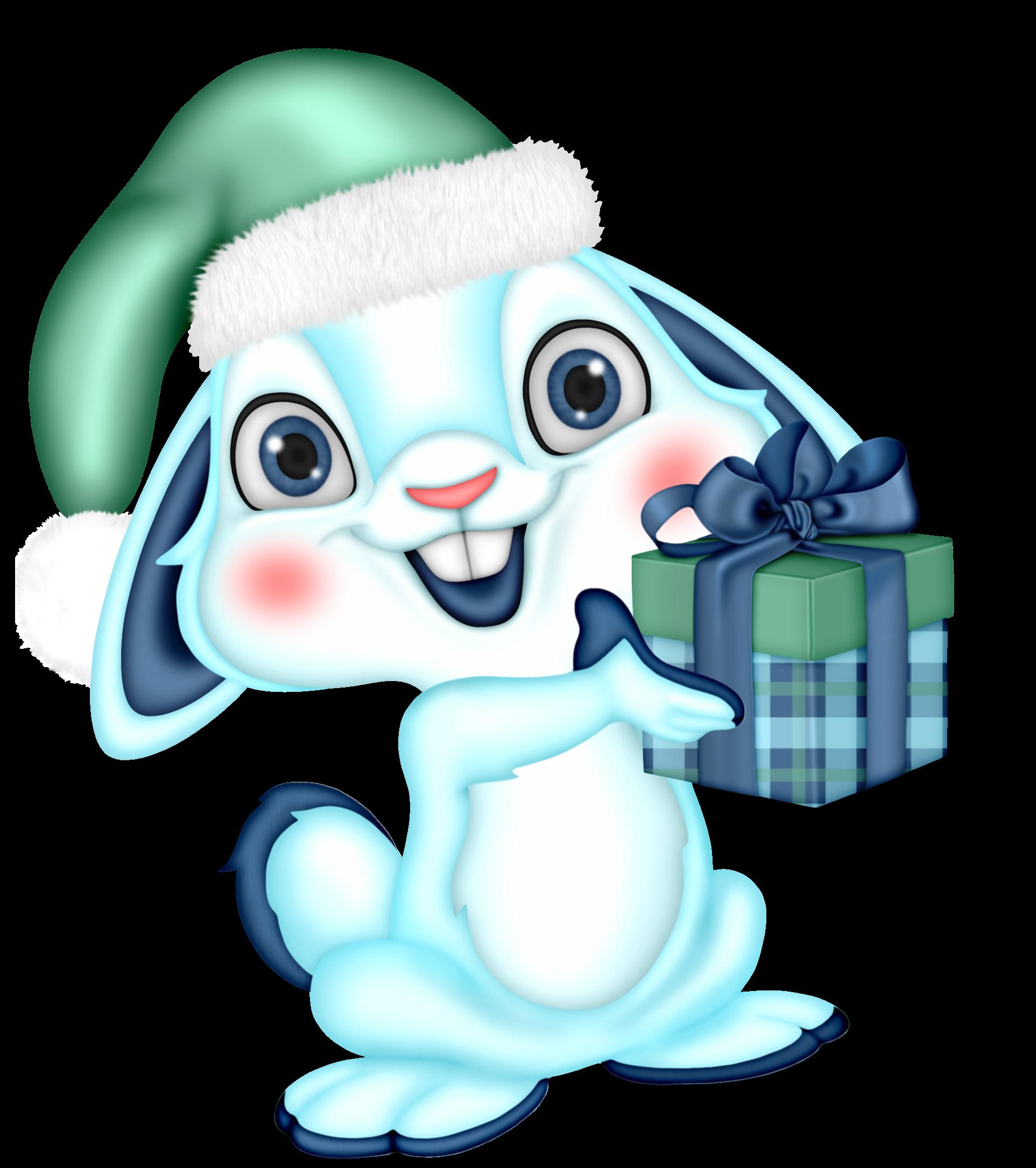 Conejito Azúl De Navidad E8z6