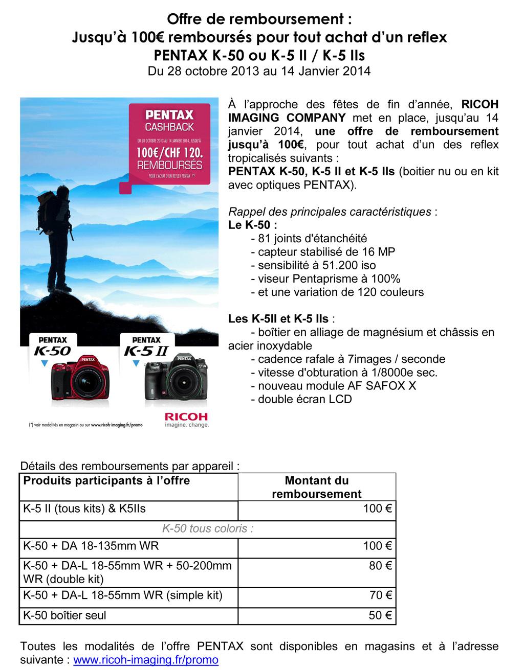 PENTAX RICOH IMAGING - OFFRE NOEL 2013 sur K-50 ou K-5 II / K-5 IIs B1ps