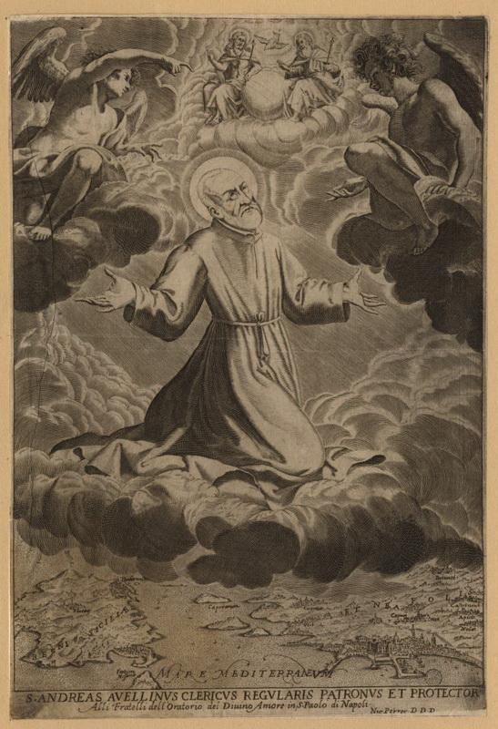 S. ANDRÉS AVELINO /  VIRGEN MARÍA, SANTA ANA Y SAN JOAQUÍN- S.XVII ( R.M. SXVII-P68) Andreasavellinus