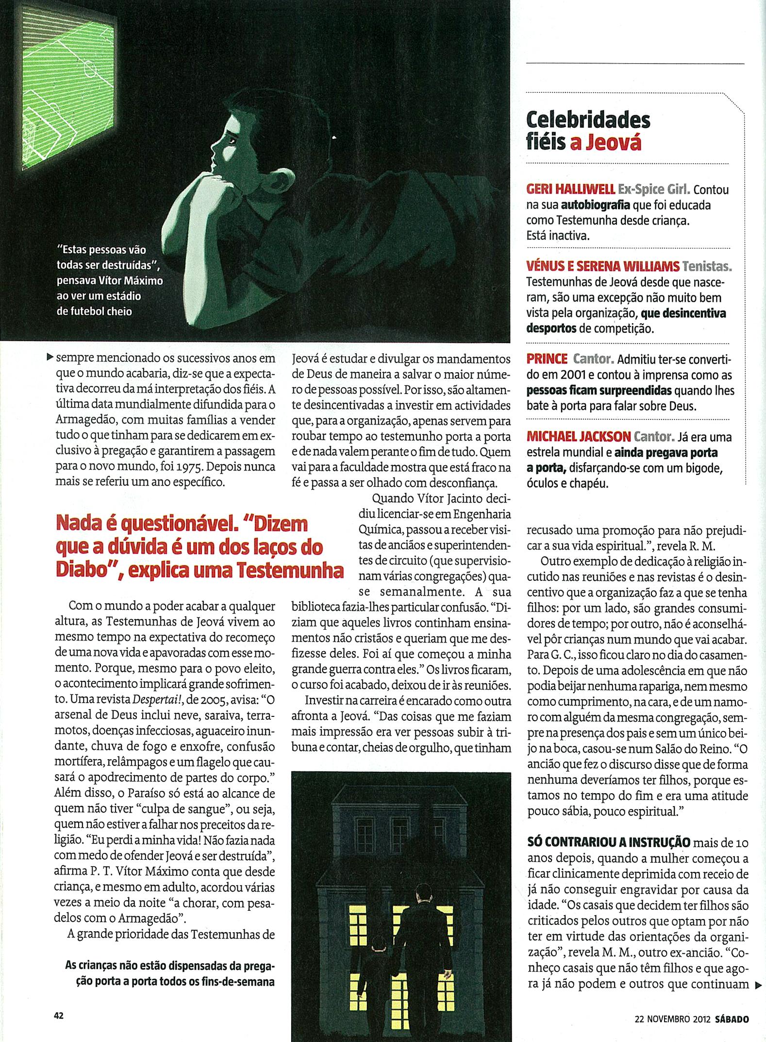 LINK ATUALIZADO - Revista Sábado digitalizada - artigo sobre as Testemunhas de Jeová Pag5a