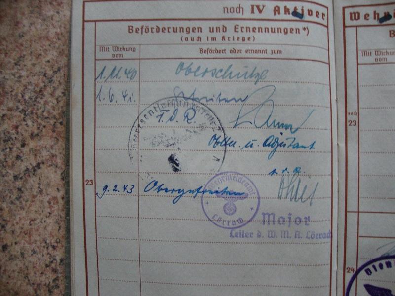 Traduction et identification d 'un Wehrpass et ses papiers A59c