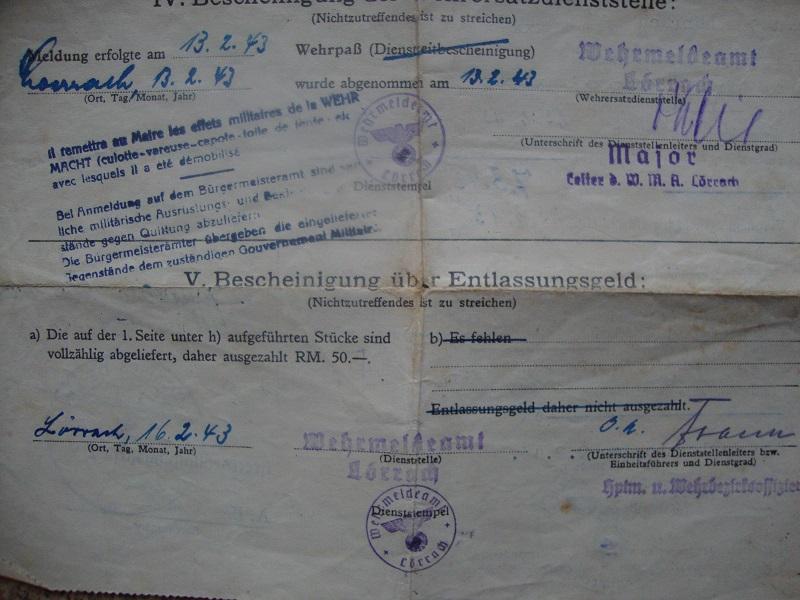 Traduction et identification d 'un Wehrpass et ses papiers Gvys