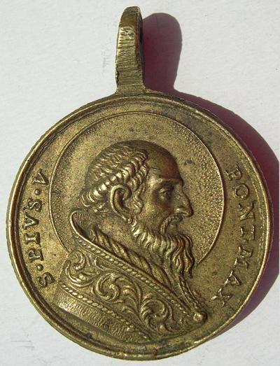 Médaille en forme de coeur - St Pierre de Rome & Sainte Catherine - XVIIème Piovobjets