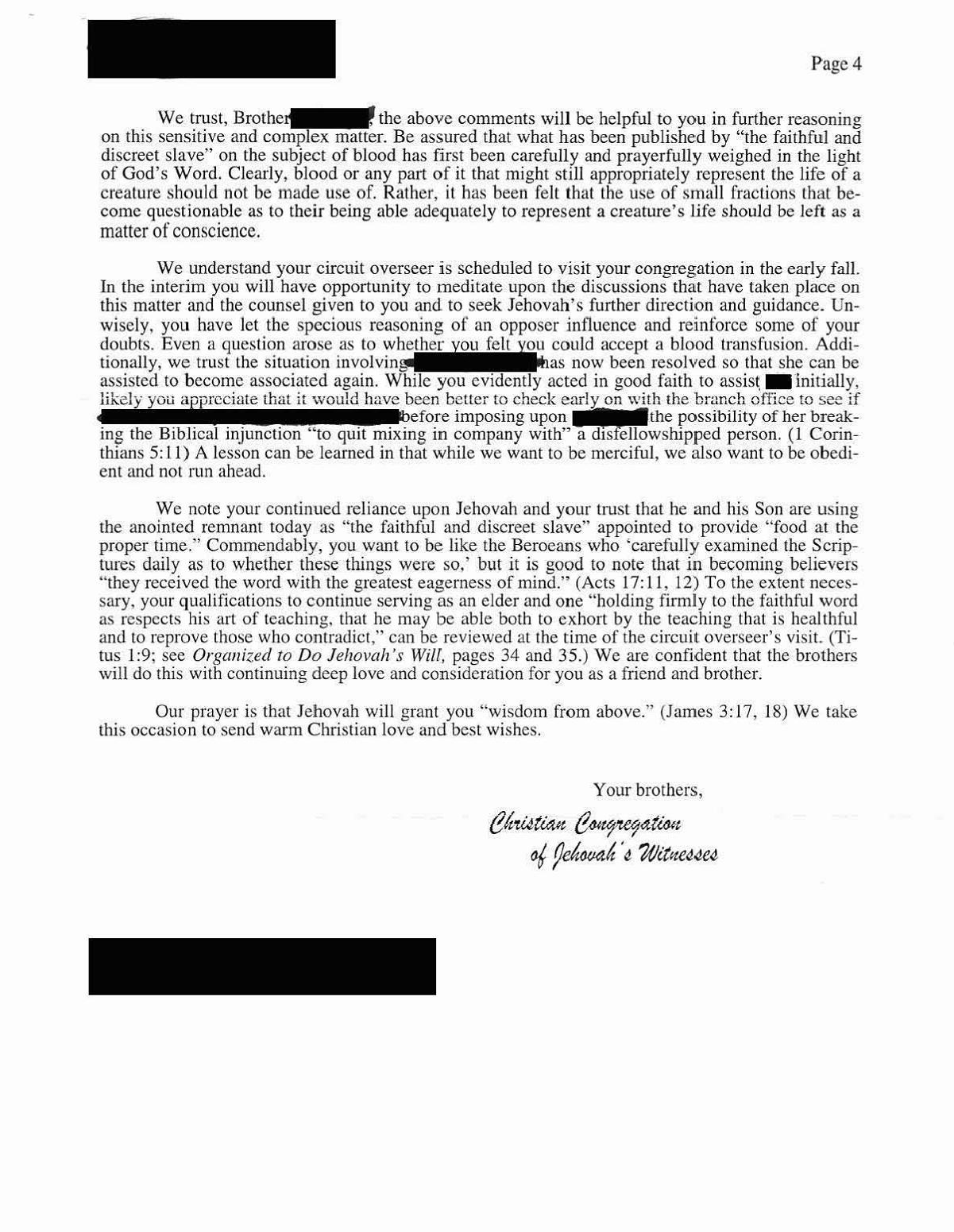 Carta da Watchtower que revela mais pormenores sobre o entendimento sobre o uso de fracções Ofjb