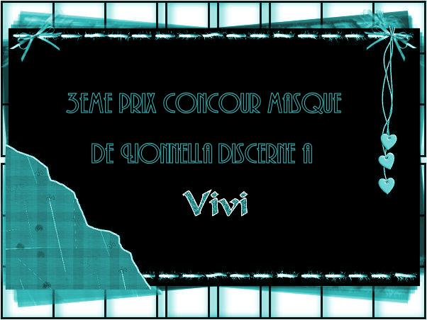 """PRIX CONCOURS """" les masques n°1"""" 3emeprix"""