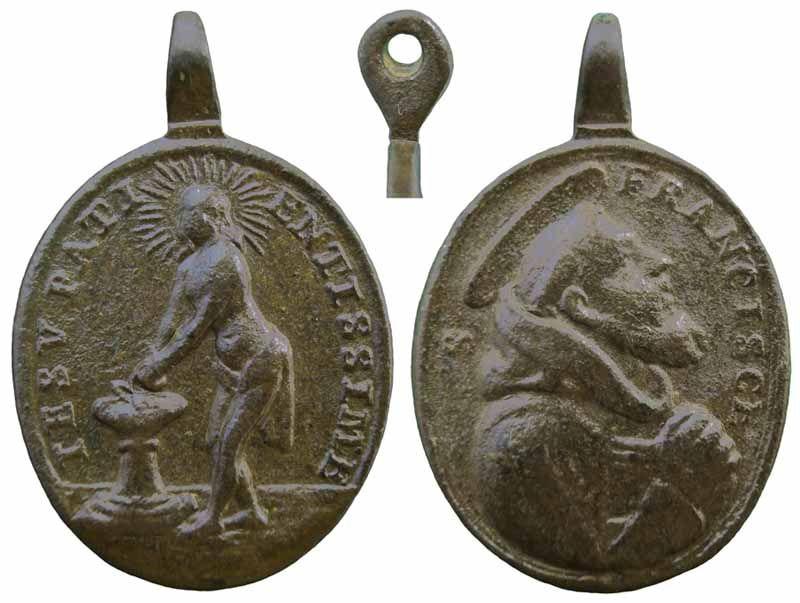 Médaille Christ à la colonne & St-François d'Assise - XVIIIème Jesussfrancisco