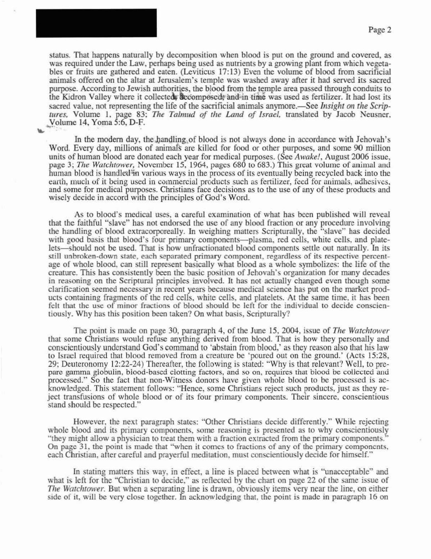 Carta da Watchtower que revela mais pormenores sobre o entendimento sobre o uso de fracções Mc7i