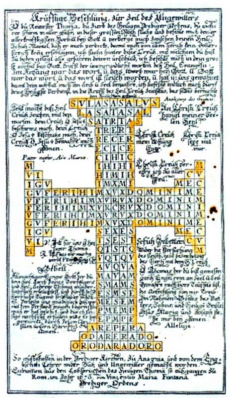 Santo Tomás de Aquino / Cruz de Santo Tomás de Aquino S.XVIII ( R.M.SXVIII-O105 )       Grabadoamuleto