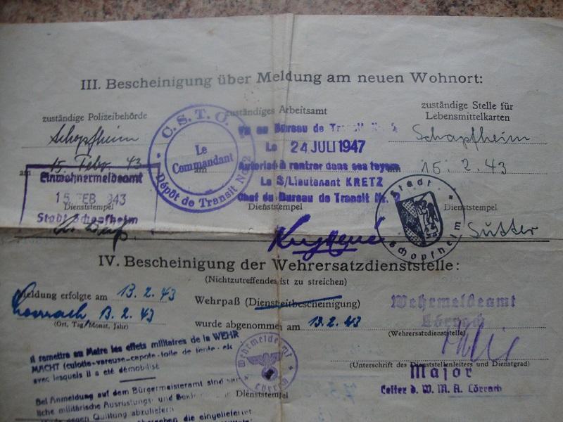 Traduction et identification d 'un Wehrpass et ses papiers 75pr