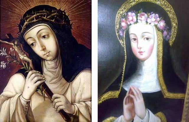 Virgen del Rosario con diez santos dominicos (R.M. SXVIII-O168) Catalinasienarosalima