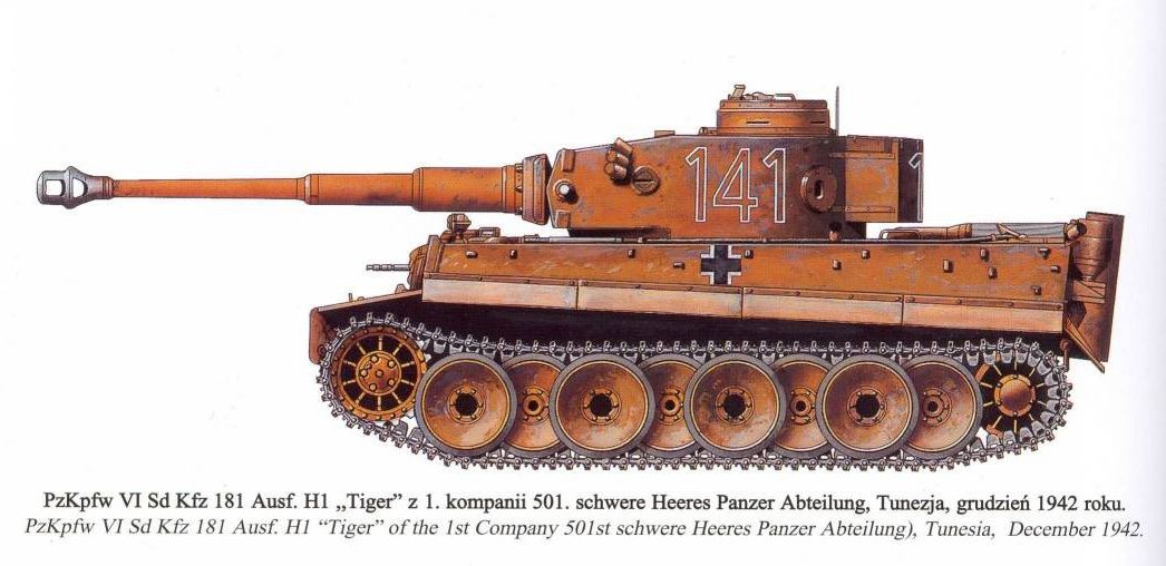 Tiger I du sPzAbt. 501 en Tunisie 1943 Tigerinr141ausfh1spzabt
