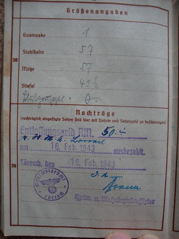Traduction et identification d 'un Wehrpass et ses papiers 4tcn