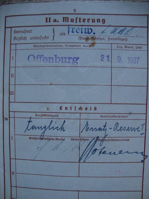 Wehrpass N°4 combat en France Ob82