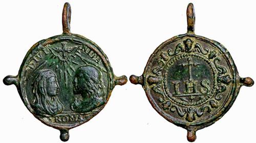 medalla arqueológica -siglo XVII Jesucristopp2yvirgenihs