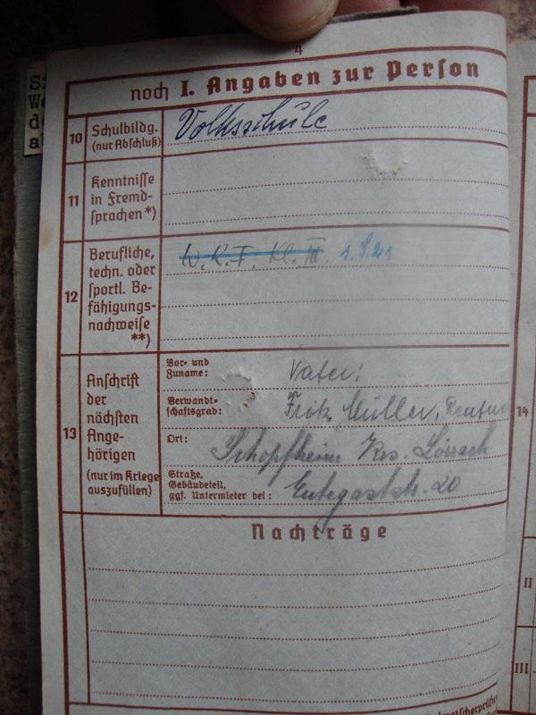 Traduction et identification d 'un Wehrpass et ses papiers Wujp