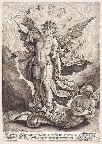 Virgen Dolorosa / San Miguel  S.XVIII (R.M.S.XVIII-030) Hamerani 424pxhieronymuswierixst