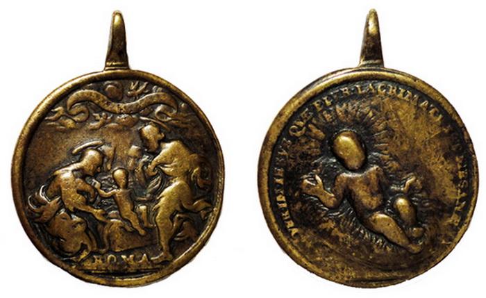 ICONOGRAFIA de la NATIVIDAD en las medallas devocionales Nacimientojessenpesebre