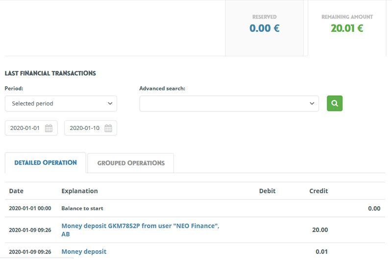 Neo Finance 20 EUR bonusu na start 1VyCBh