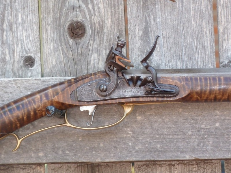 New-fangled percussion long rifle converted to old-fangled Flintlock Vr674