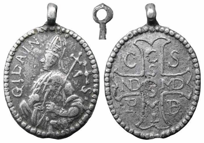 Médaille de St-Benoît liée à St-Ghislain - milieu XVIIème  Mr266a