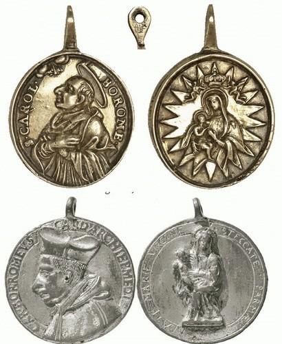 S. Carlos Borromeo / Virgen de la Leche S. XVIII (R.M. SXVIII-O223) U8ee