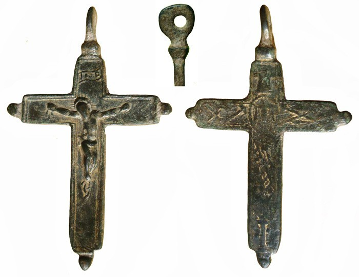 Crucifijo bifaz pezuelada Arma Christi S-XVII – MR(034) CC-004-[Pec013/S-XVII]* XEuPM0