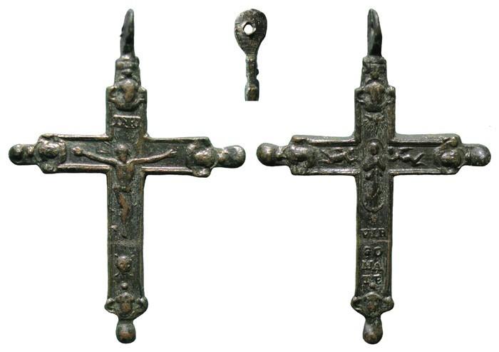 Crucifijo  bifaz  pezuelado con querubines ,Inmaculada.  S-XVII– CC-041- [Pec025/S-XVII]* 0Us097