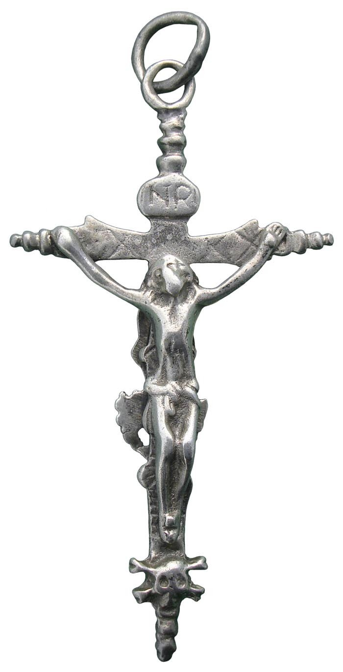 CC094 – Crucifijo pectoral bifaz S-XVII - Decoración vegetal * XFAaMi