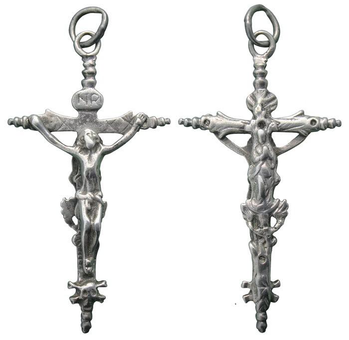 CC094 – Crucifijo pectoral bifaz S-XVII - Decoración vegetal * 42FzBp