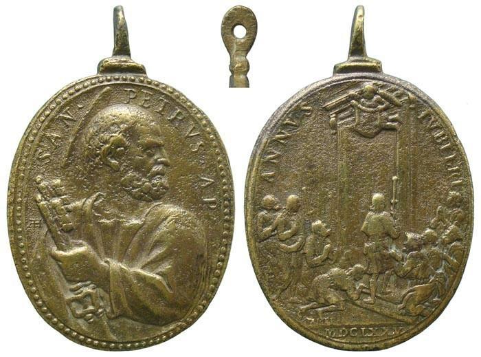 San Pedro / Puerta Santa - Jubileo romano 1675 (Hamerani) - MR565- (R.M. SXVII-O451) Dm1asx