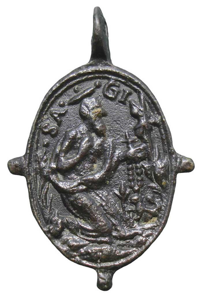 Peut-être saint Jean l'Evangéliste qui est souvent représenté aux pieds de la croix en compagnie de la Vierge Marie généralement  FmIHW6