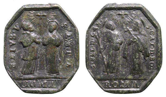 Medalla Cuatro Santos canonizados por Clemente XI en 1712 (R.M.SXVIII-P28) QaN0EC