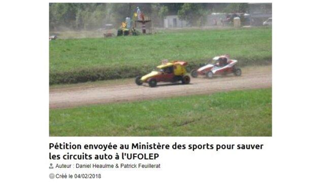 Pétition au Ministère des sports pour sauver les circuits auto à l'UFOLEP